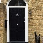 Black Painted Timber Six Paneled Front Door